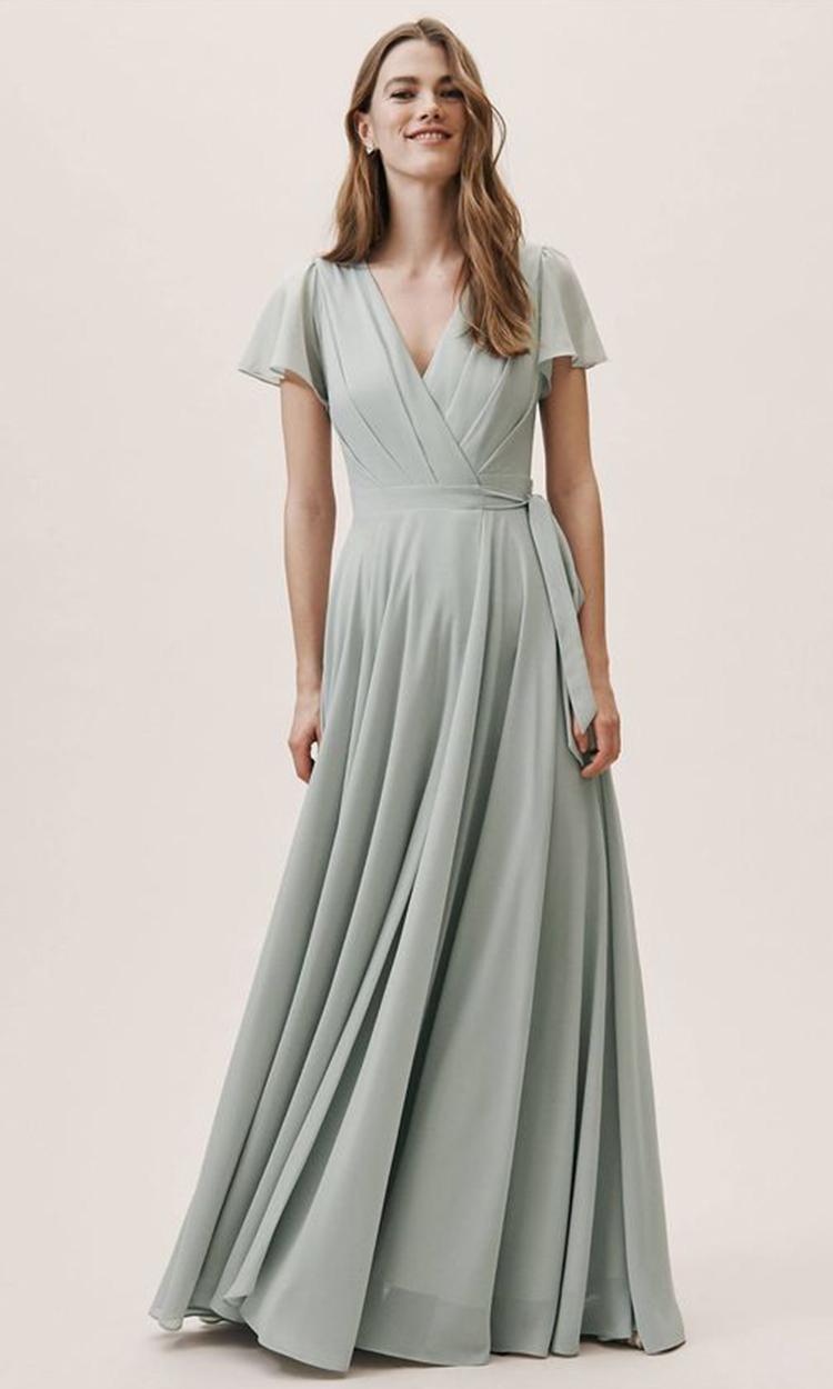 shop bhldn - Elegant Bridesmaid's Dresses in light green, sage, and olive tones.