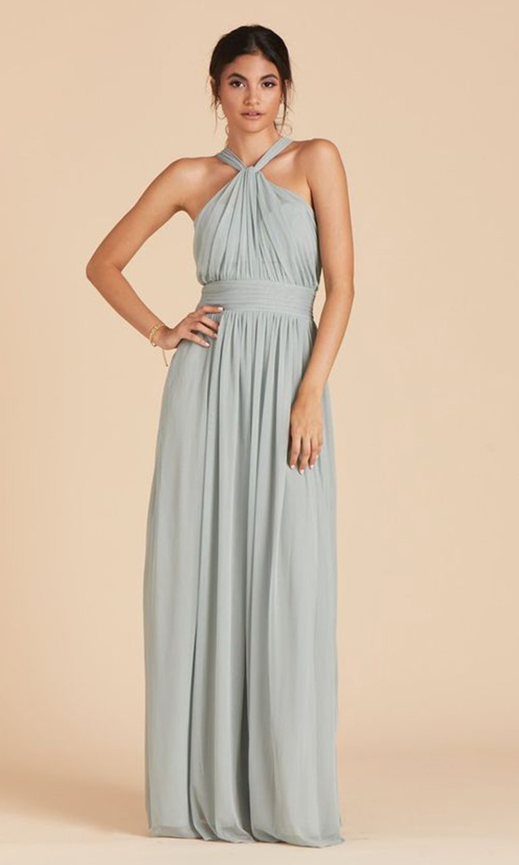 shop birdy grey - Elegant Bridesmaid's Dresses in light green, sage, and olive tones.