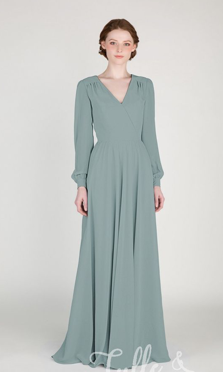 shop tulle & Chantilly - Elegant Bridesmaid's Dresses in light green, sage, and olive tones.