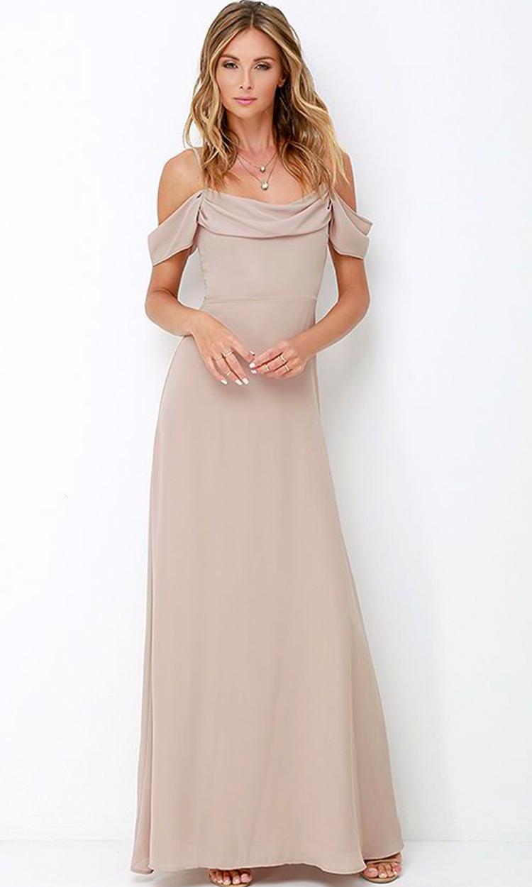 shop lulus - Elegant Bridesmaid's Dresses in nude, taupe, and light brown tones.