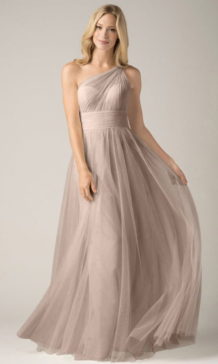 shop watters - Elegant Bridesmaid's Dresses in nude, taupe, and light brown tones.