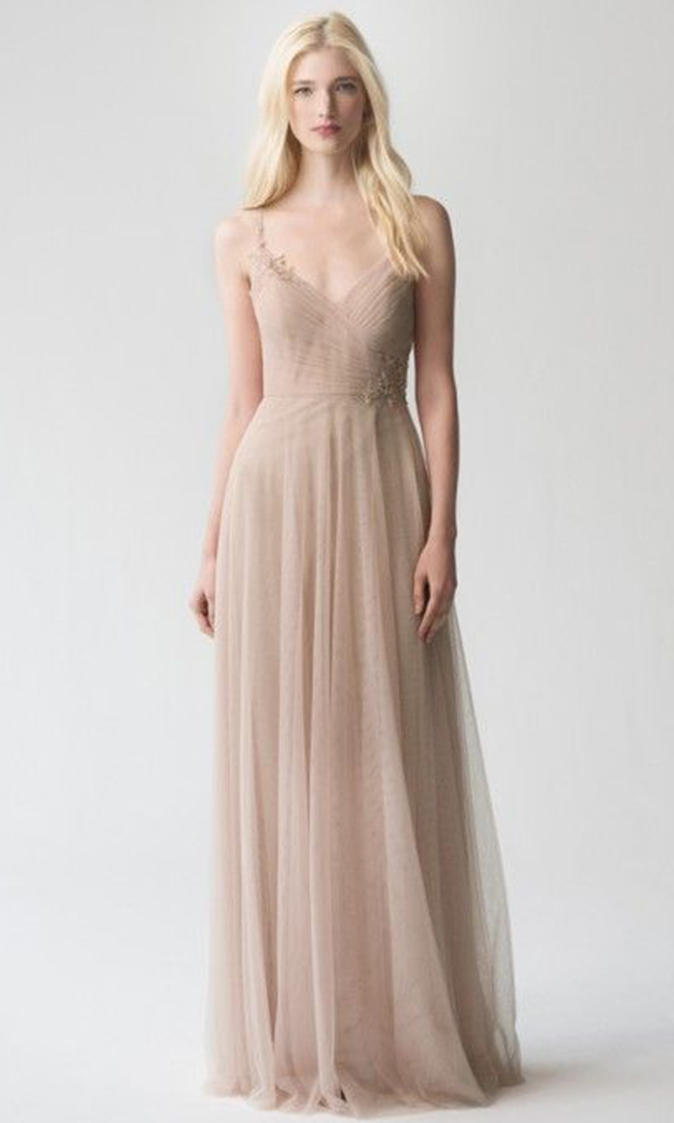 shop jenny yoo - Elegant Bridesmaid's Dresses in nude, taupe, and light brown tones.