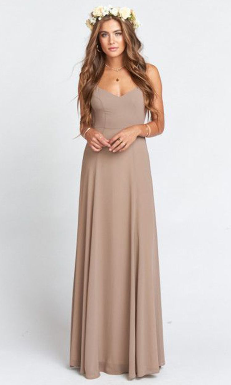 shop show me your mumu - Elegant Bridesmaid's Dresses in nude, taupe, and light brown tones.