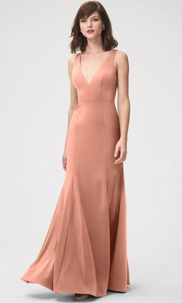shop jenny yoo - Elegant Bridesmaid's Dresses in nude, blush, peach, apricot, and salmon tones.