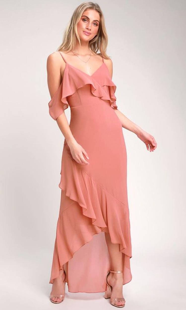 shop lulus - Elegant Bridesmaid's Dresses in nude, blush, peach, apricot, and salmon tones.