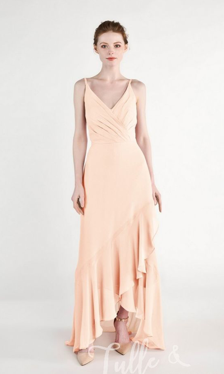 shop tulle and chantilly - Elegant Bridesmaid's Dresses in nude, blush, peach, apricot, and salmon tones.
