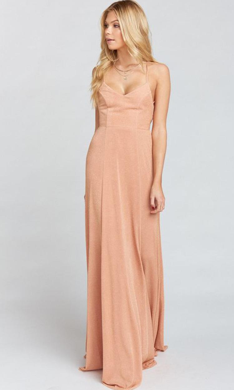 shop show me your mumu - Elegant Bridesmaid's Dresses in nude, blush, peach, apricot, and salmon tones.