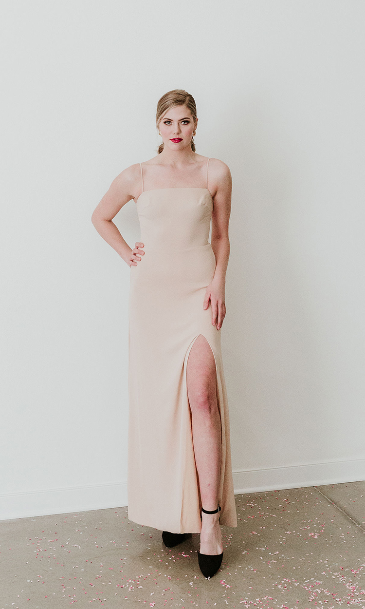 shop maide - Elegant Bridesmaid's Dresses in nude, blush, and ivory tones.