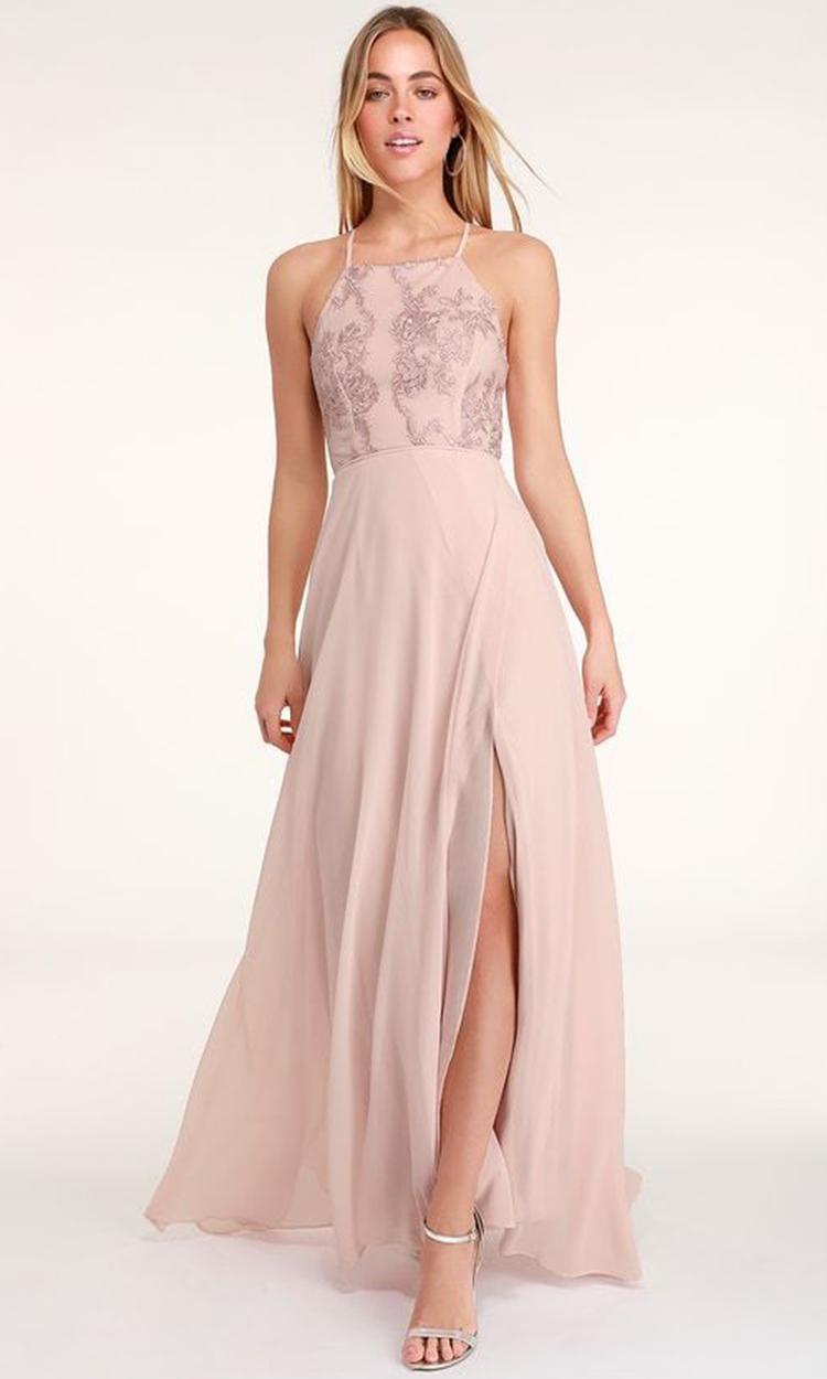 shop lulus - Elegant Bridesmaid's Dresses in nude, blush, and ivory tones.