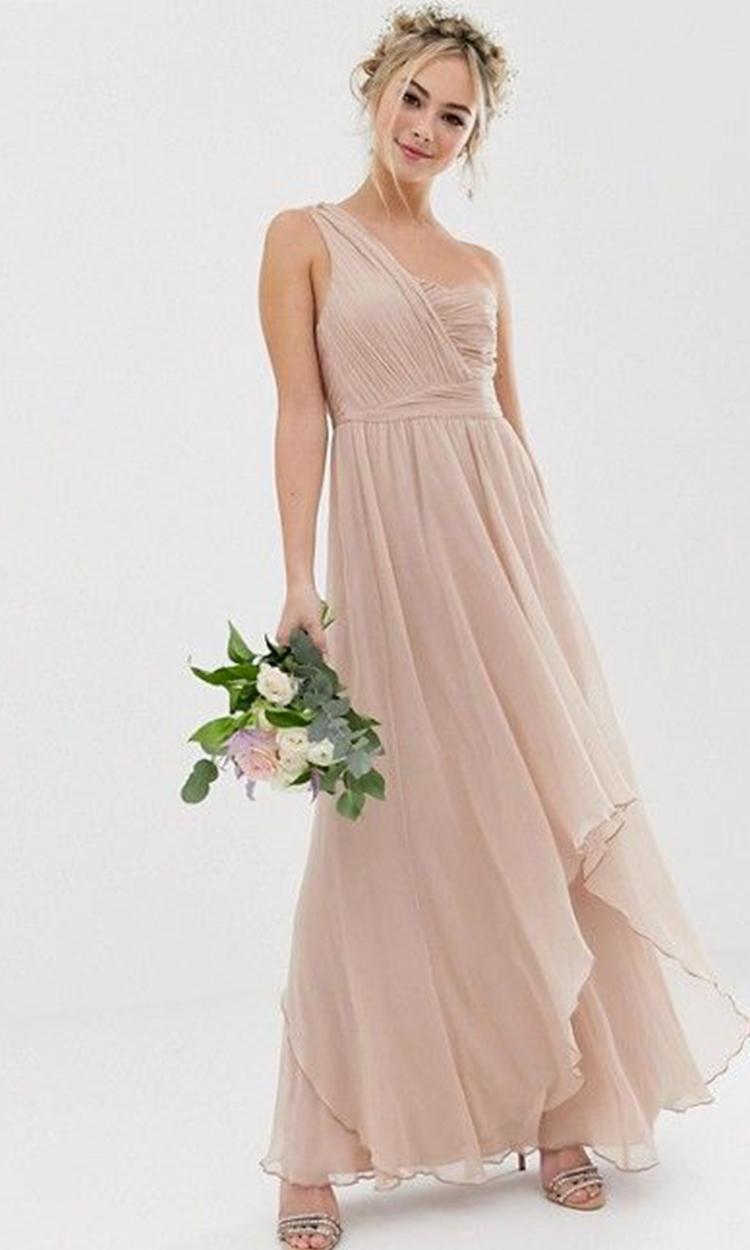 shop asos - Elegant Bridesmaid's Dresses in nude, blush, and ivory tones.