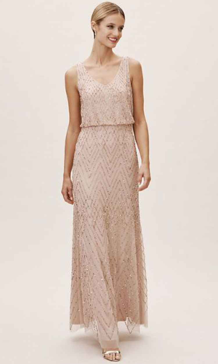 shop bhldn - Elegant Bridesmaid's Dresses in nude, champagne, and ivory tones.