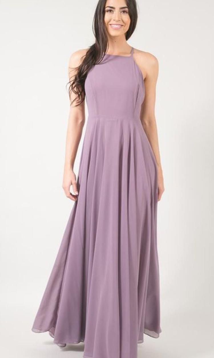 shop adorn - Elegant Bridesmaid's Dresses in lavender, dusty purple, and lilac tones.