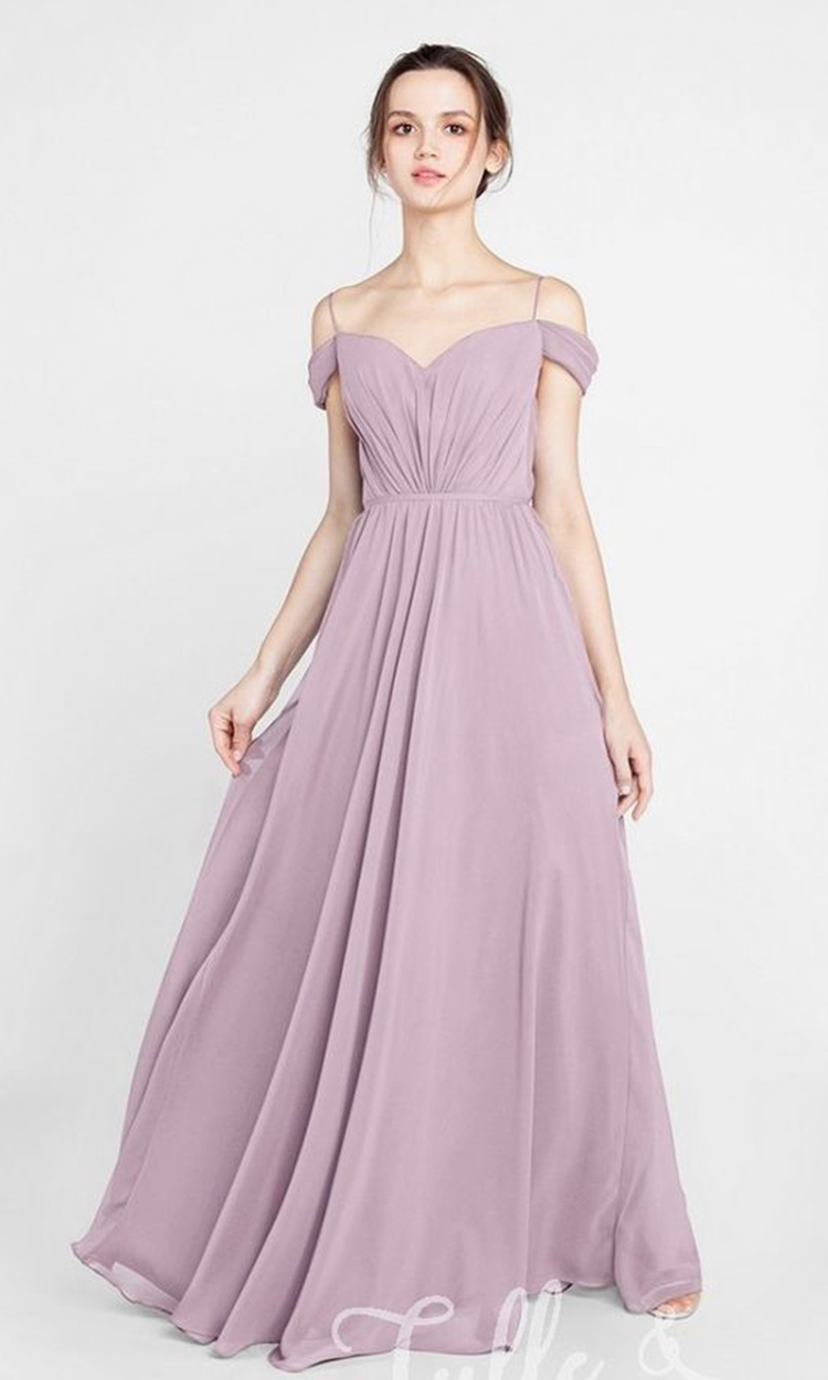 shop tulle and chantilly - Elegant Bridesmaid's Dresses in lavender, dusty purple, and lilac tones.