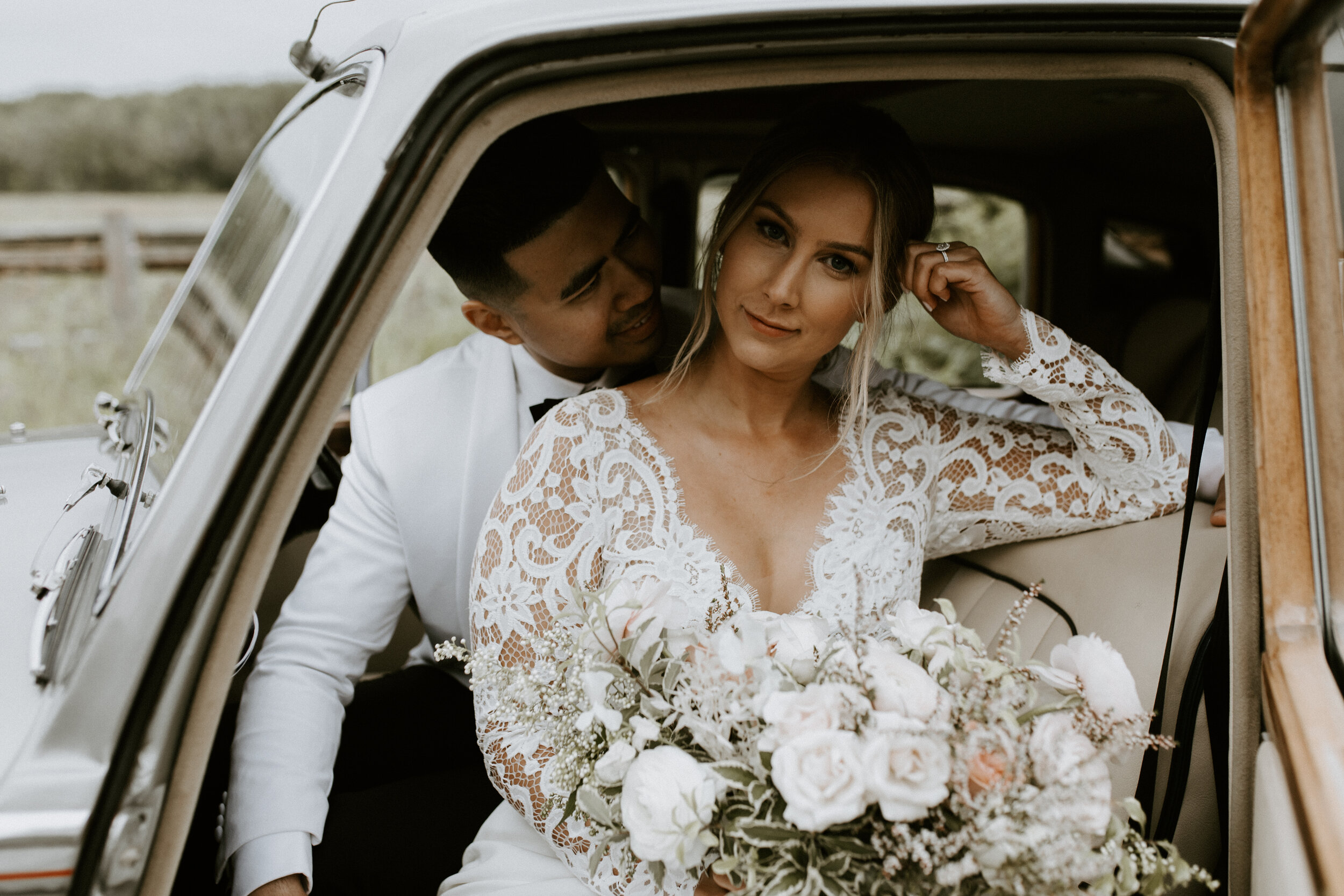 Bride and Groom - Wedding Style Inspiration - Just Married - Vintage Rental Car