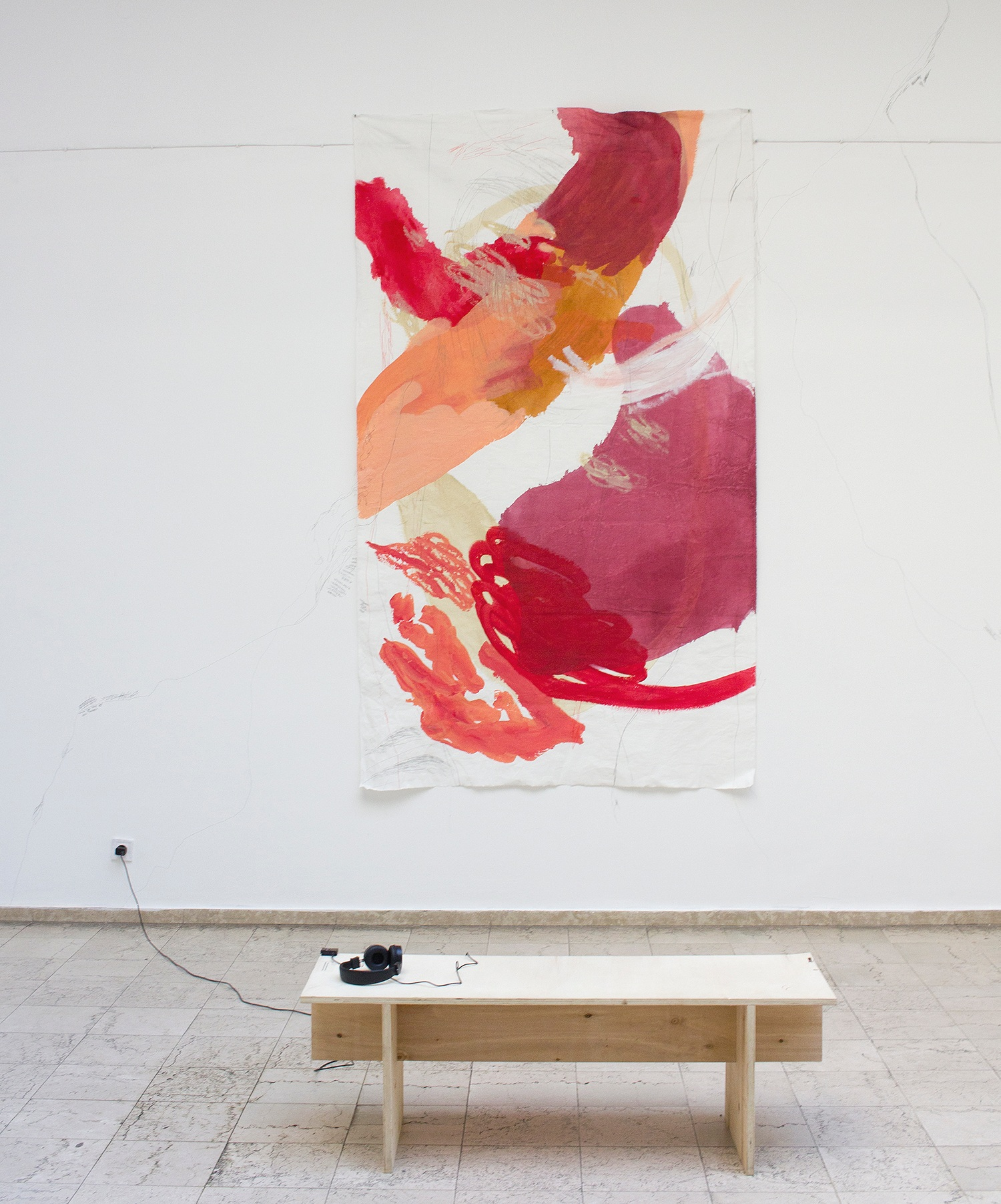 acrylic, pencil, industrial paints on textile, 280x150cm; audio 12:37 min