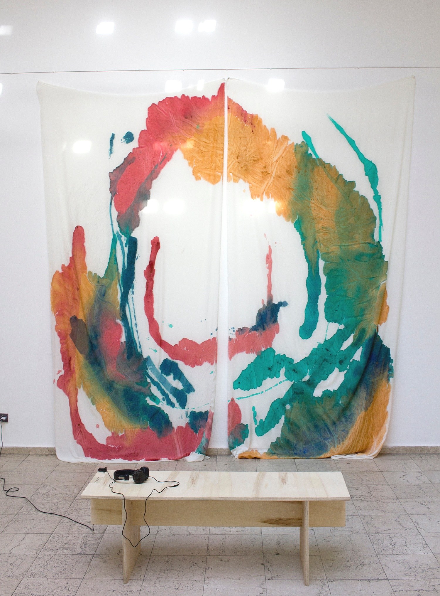 acrylic on unprimed sheer textile, 325x290cm (each panel 325x145cm); audio 05:59 min