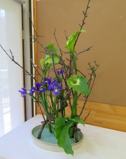 Helen - balanced arrangement with irises
