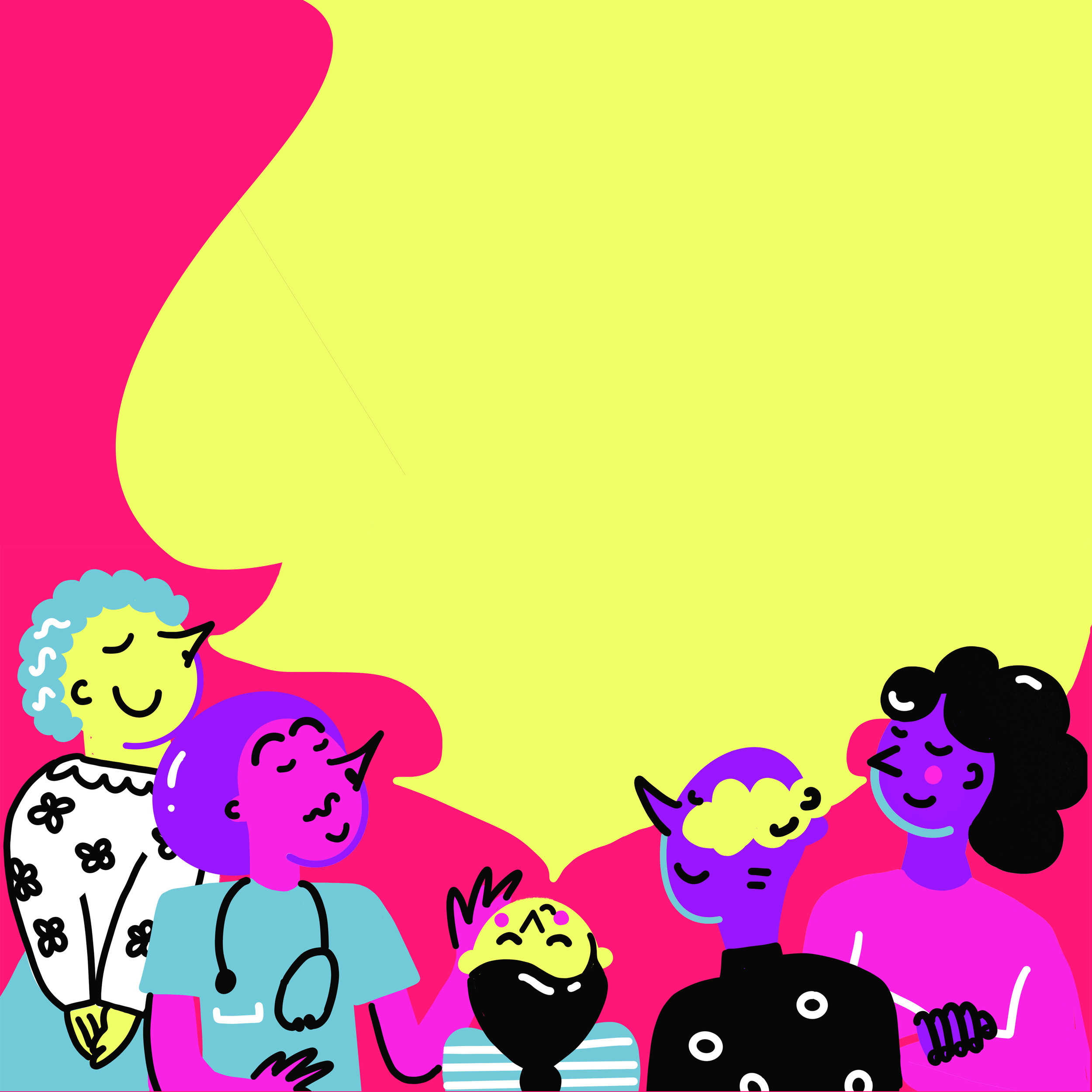 Illustration of five characters sniffing a yellow mist. Characters include an old lady and a doctor.