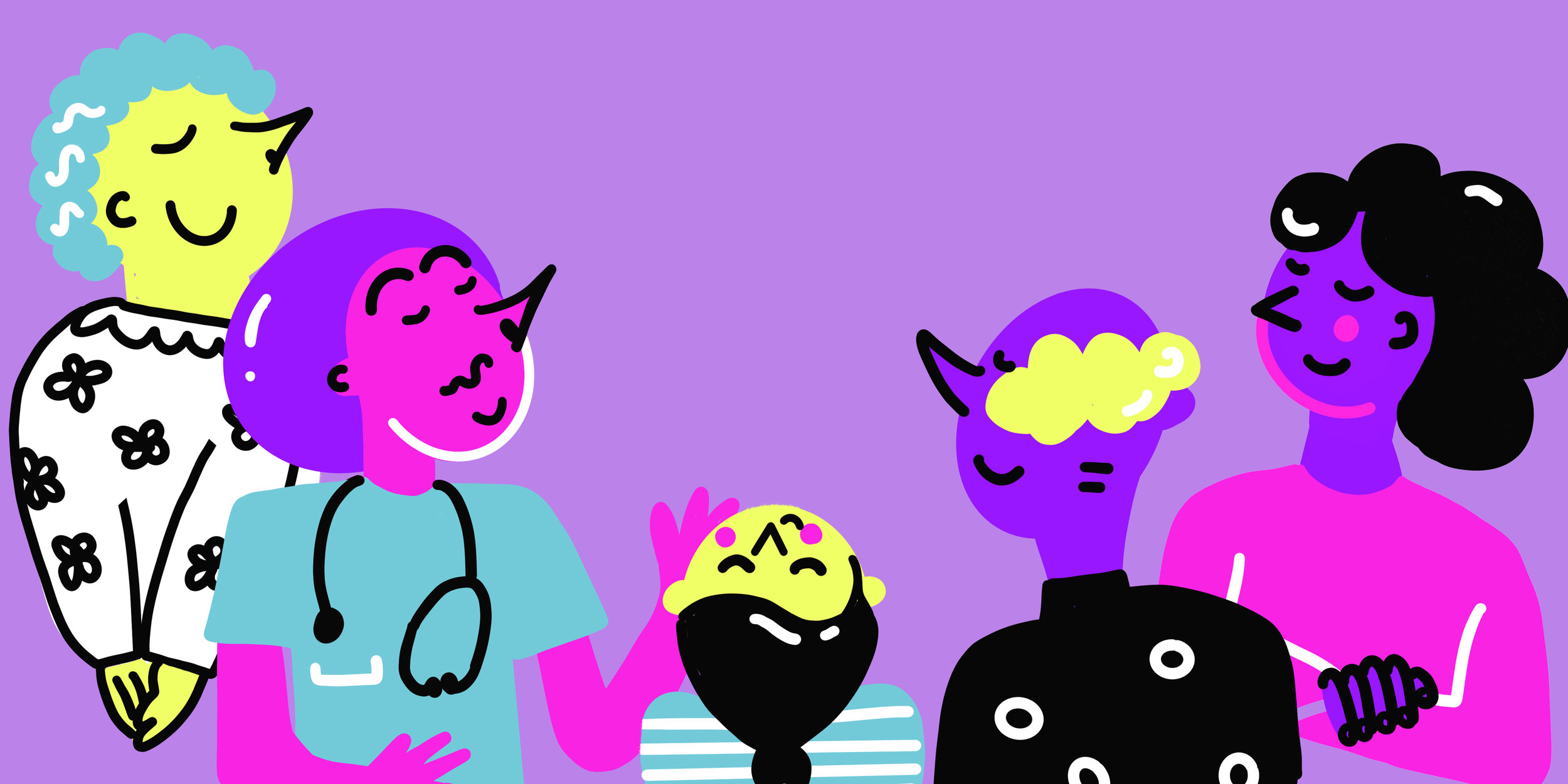 Five hand drawn characters smelling the air on a purple background