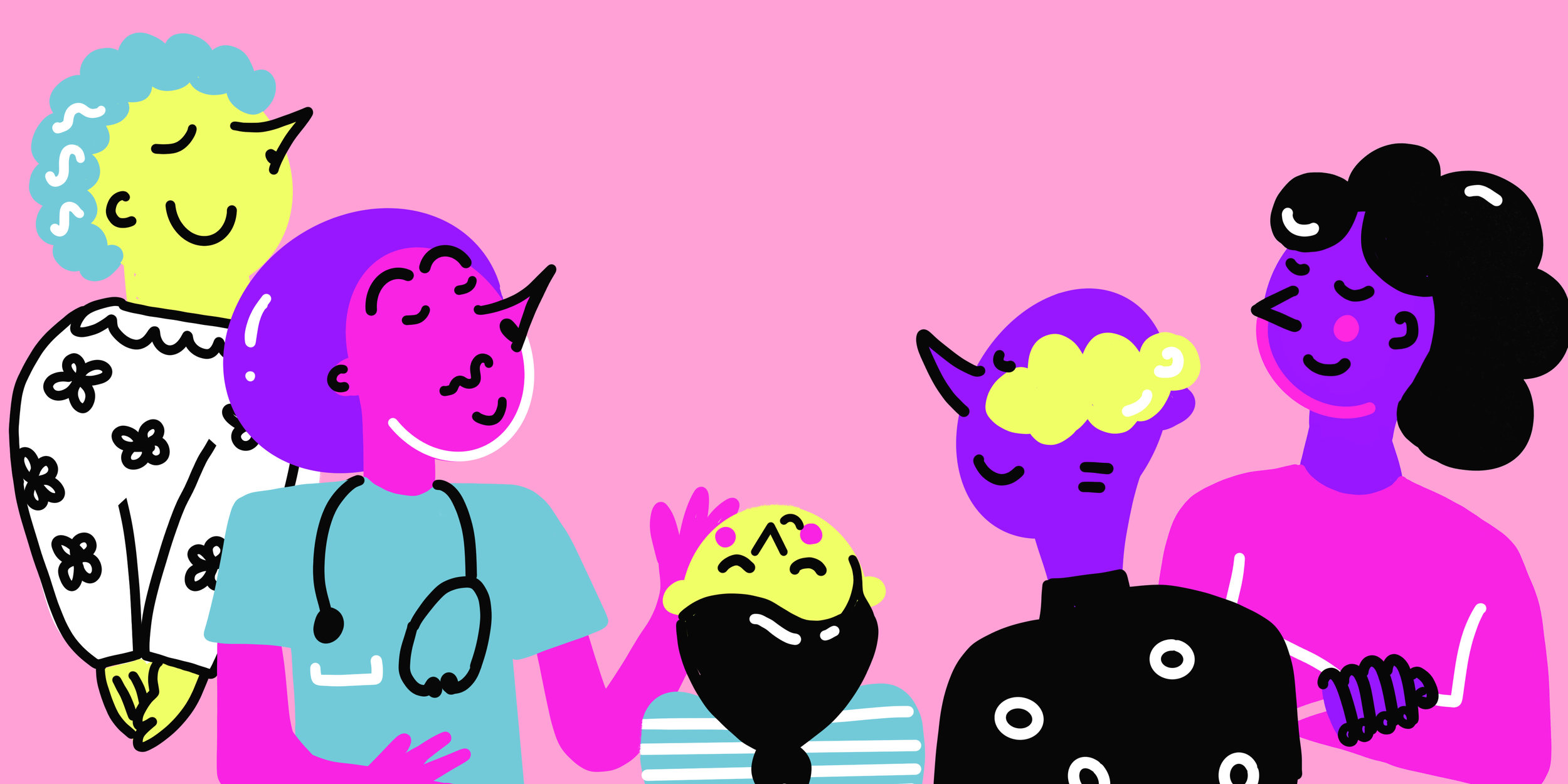 Five hand drawn characters smelling the air on a pink background