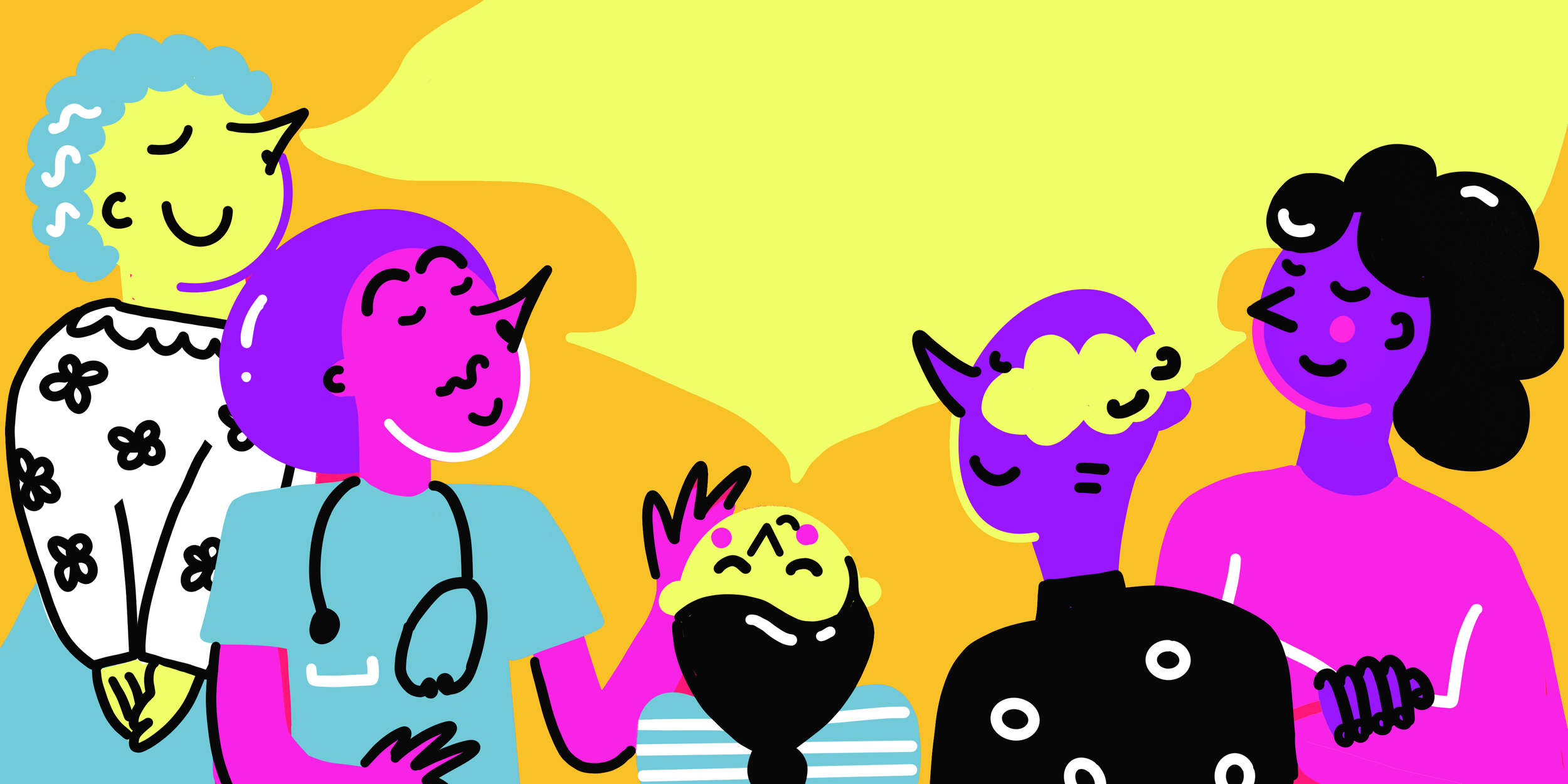Five hand drawn characters smelling the air on a orange background with yellow mist