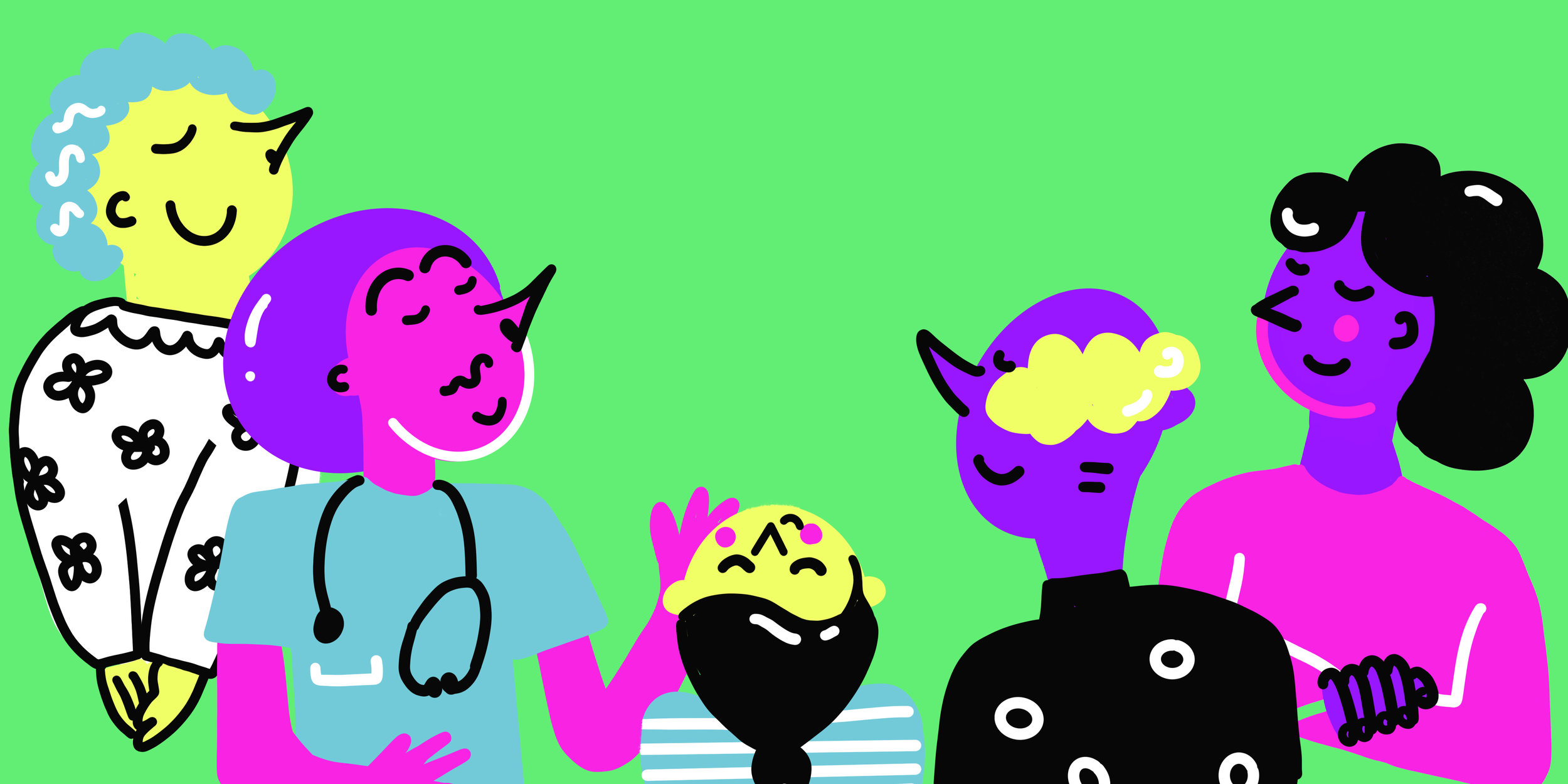 Five hand drawn characters smelling the air on a green background