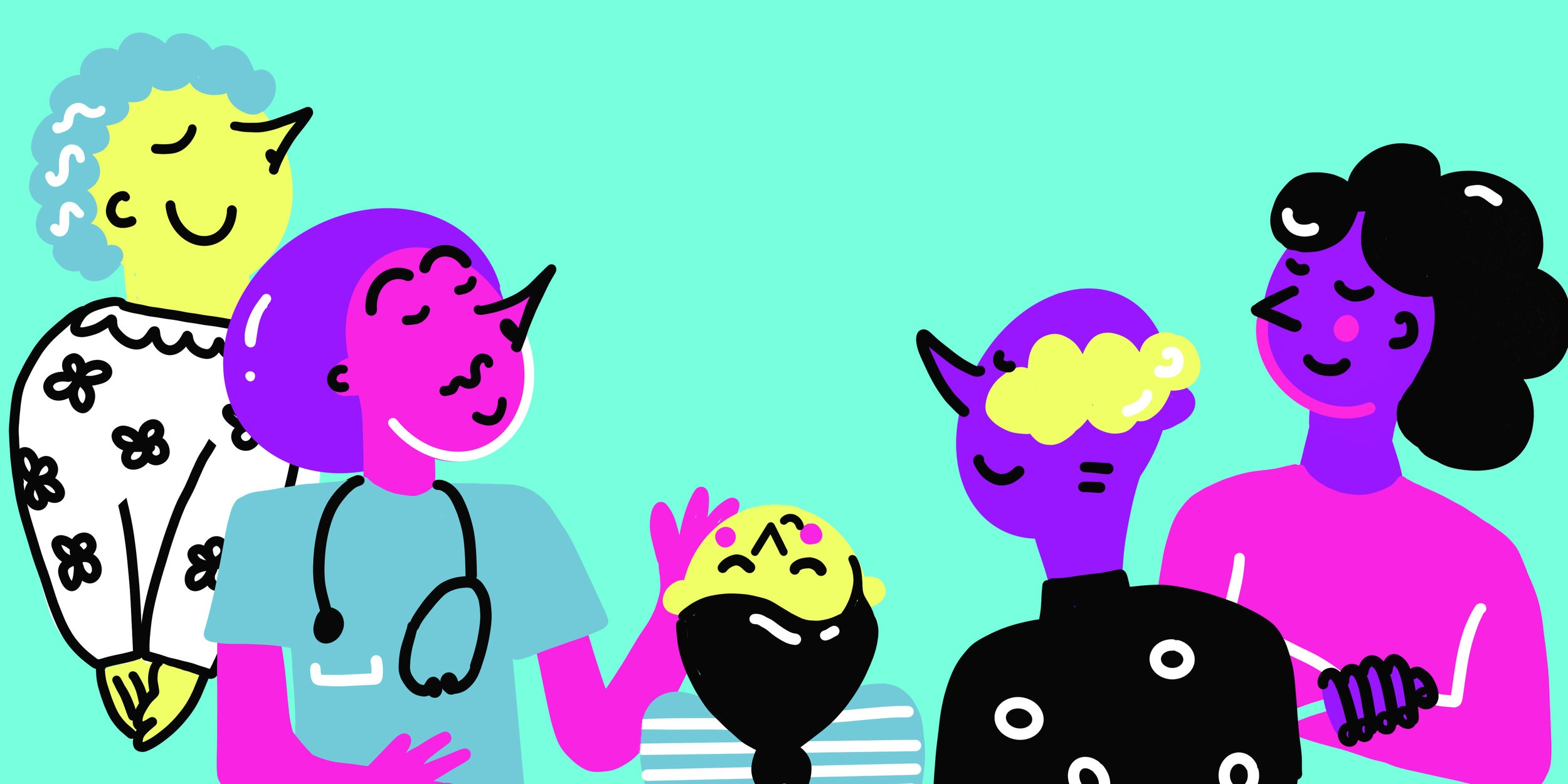 Five hand drawn characters smelling the air on a blue background