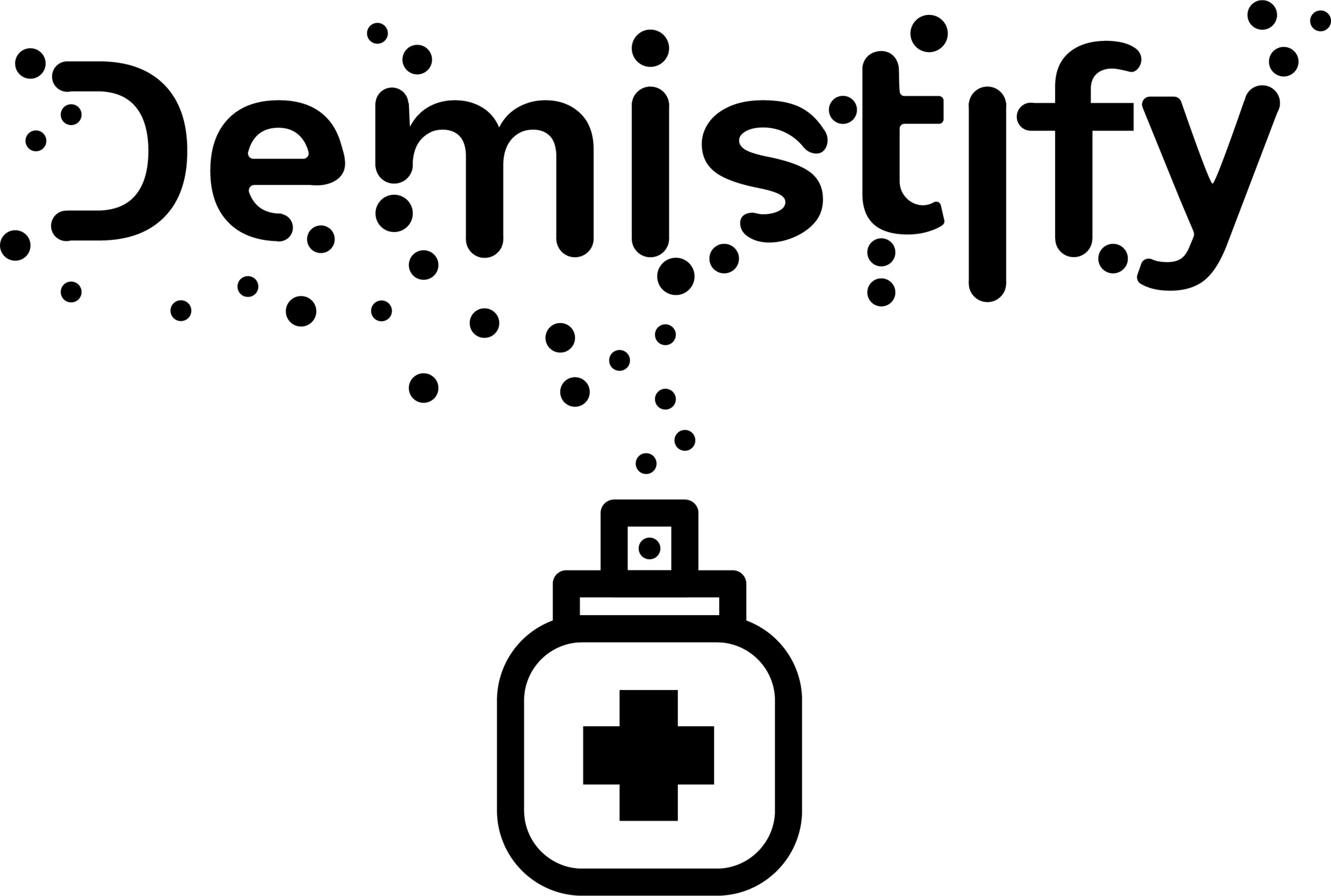 Text with the word 'Demistify' coming out of a line drawing of a perfume bottle