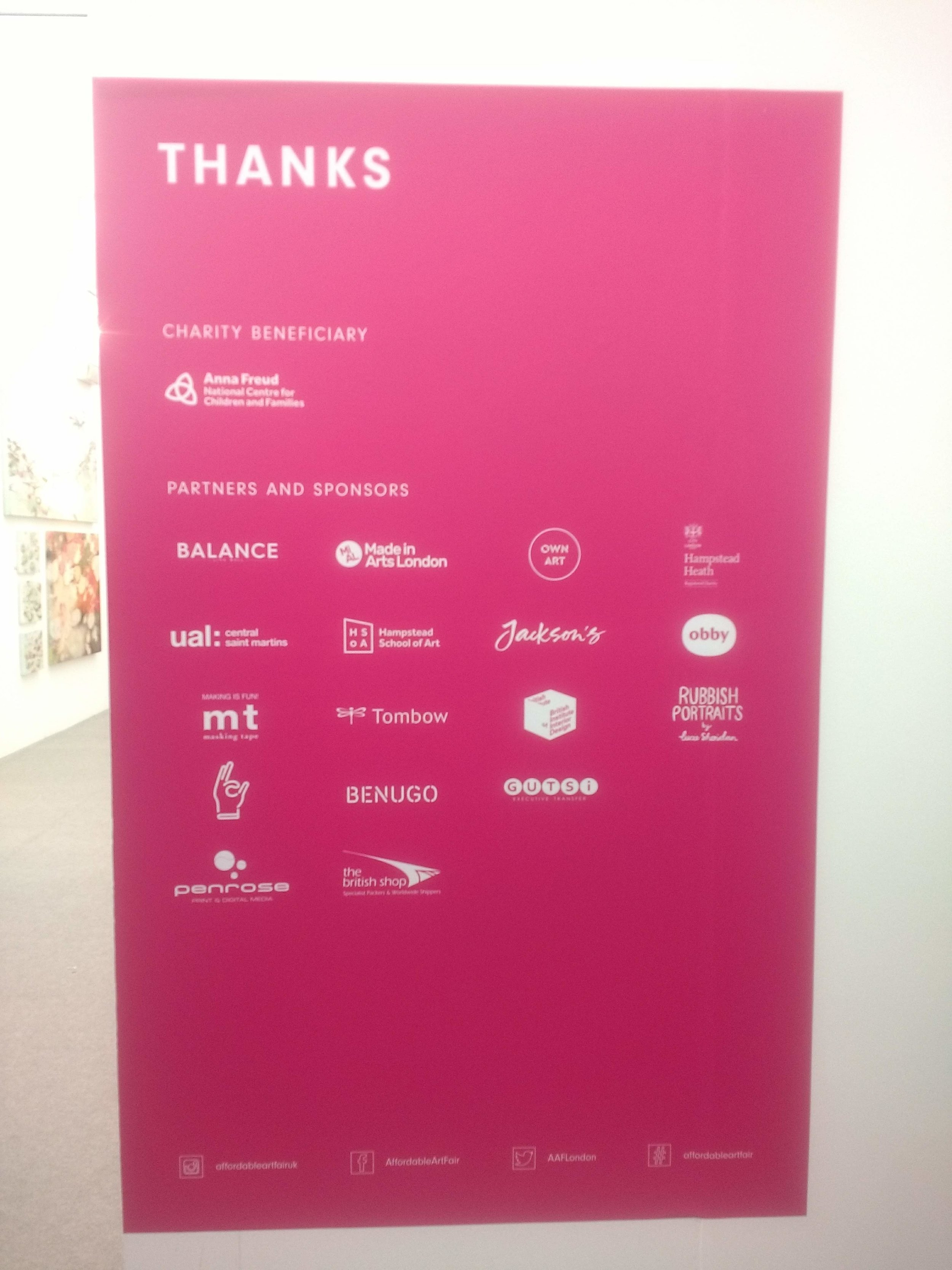 Pink 'Special thanks' poster featuring logos of participating companies, 'on the mend's logo is visible