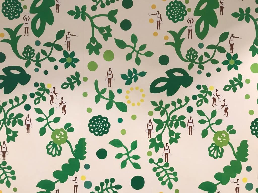 Green leaf wallpaper by Jo Bruton