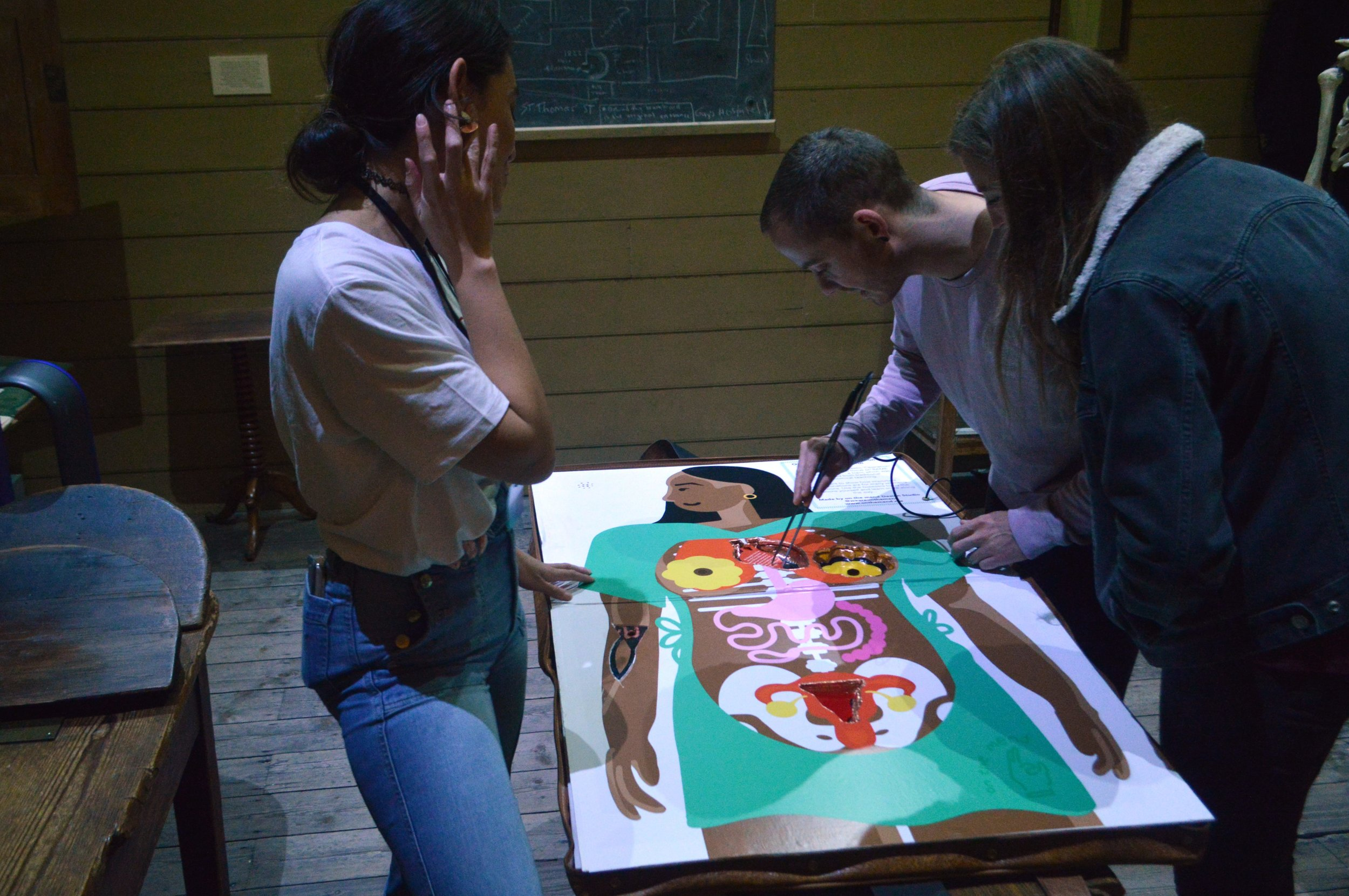 Group of two people playing operation game