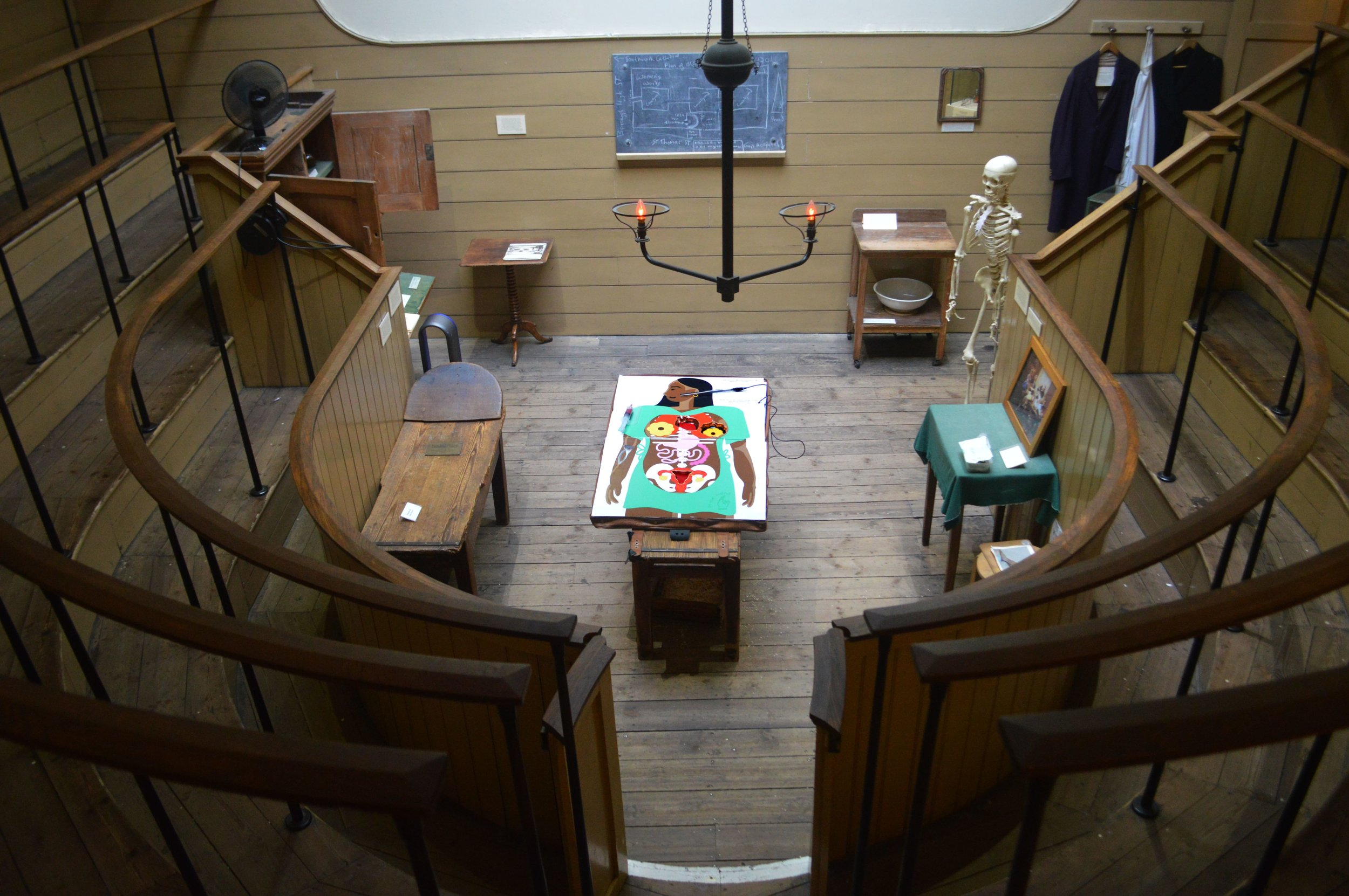 image of operation game in the old operating theatre in london. Birdseye view at an angle
