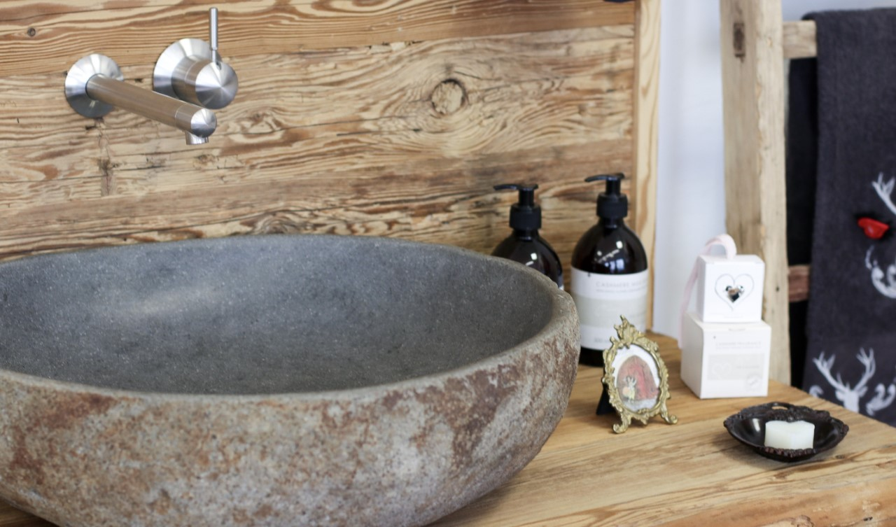 Waschbecken-Schrank Altholz mit Stein Waschbecken