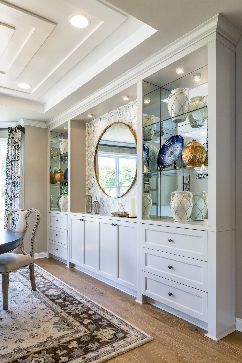 Interior Design, Dining Room, Custom Cabinetry, Tray Ceiling