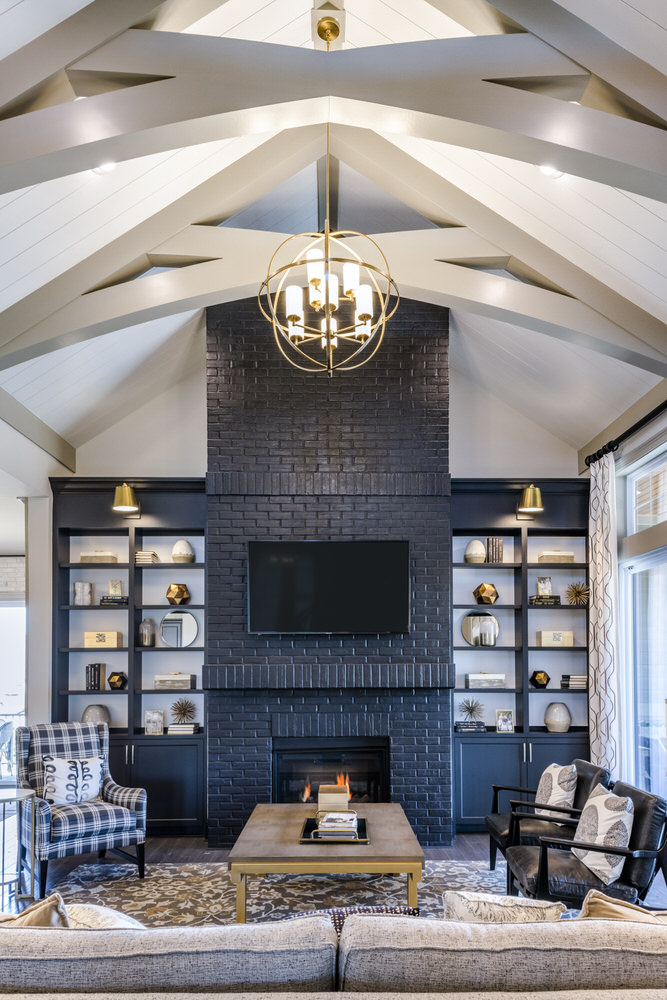 Residential Interior, Fireplace, Beamed Ceiling
