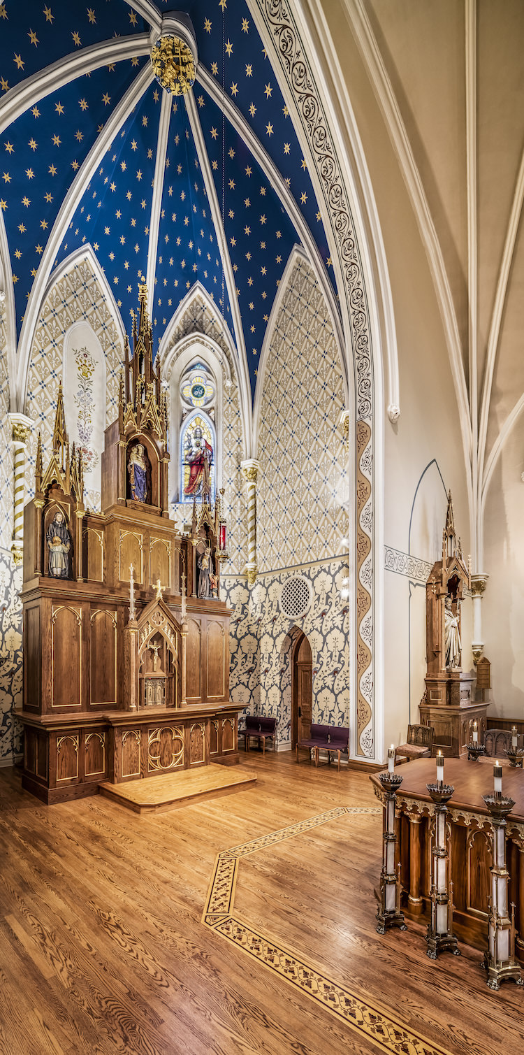 Architecture Interior, Place of Worship, Church, Chapel, Altar, Vertical Panorama