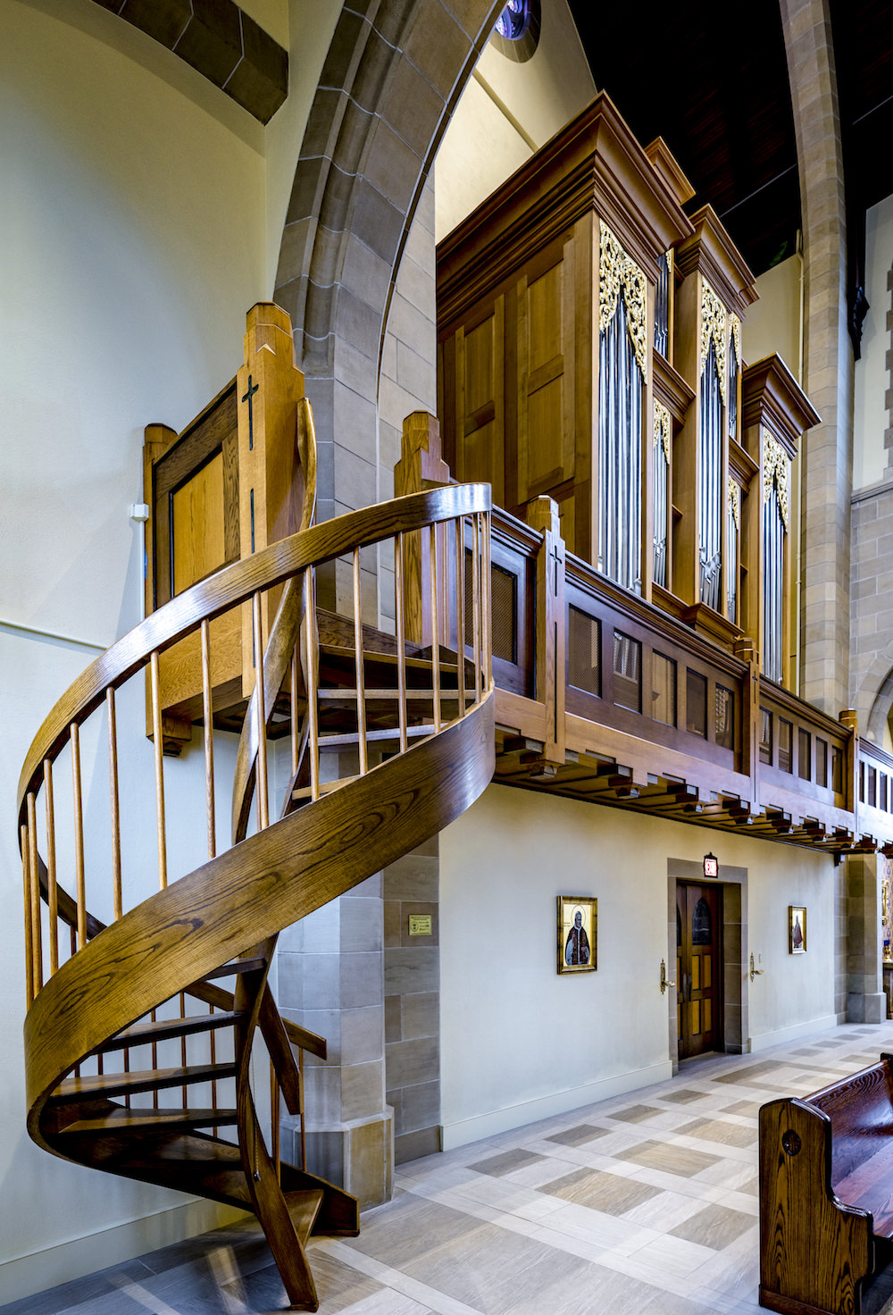 Architecture Interior, Place of Worship, Church, Sanctuary, Pipe Organ, Spiral Staircase