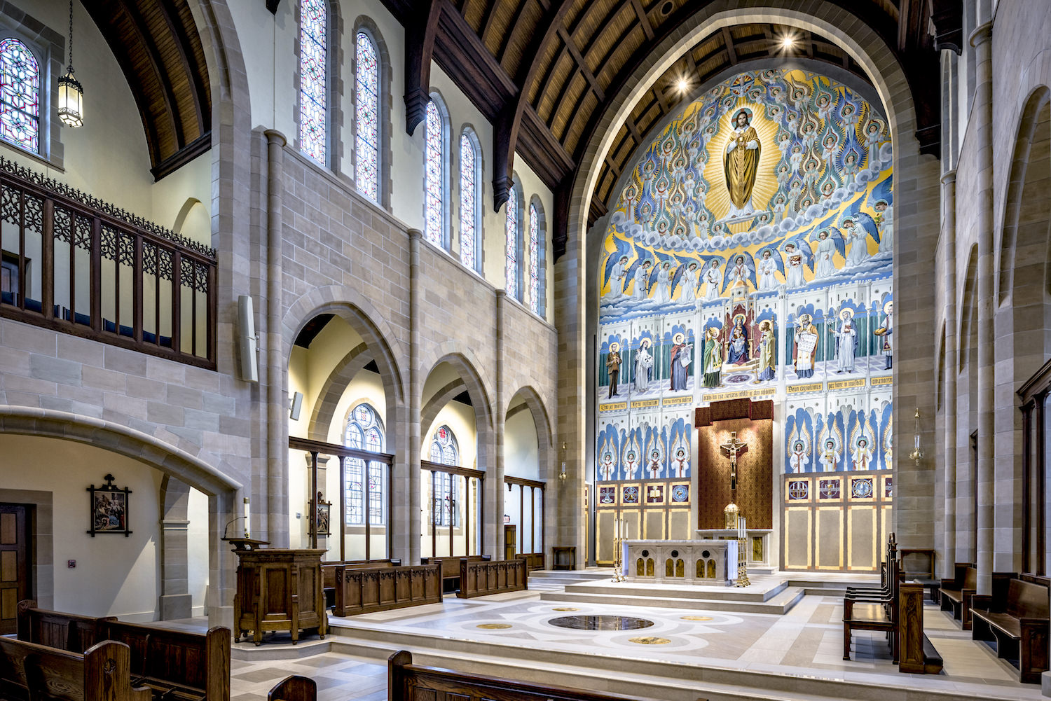 Architecture Interior, Place of Worship, Church, Chapel, Sanctuary, Mural, Altar