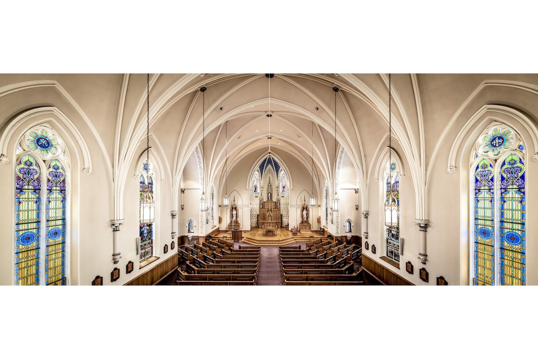 Architecture Interior, Place of Worship, Church, Chapel, Sanctuary, Horizontal Panorama