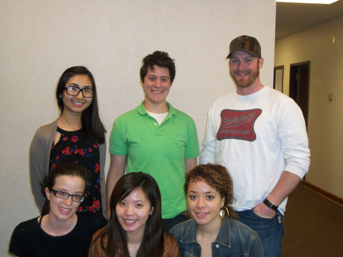 Spring 2013:  (back row, L-R) Aisulu Sanat, Eli Maltz, Jese Steston; (front row, L-R) Mary Tierney, Serena Wong, Marini Pickering