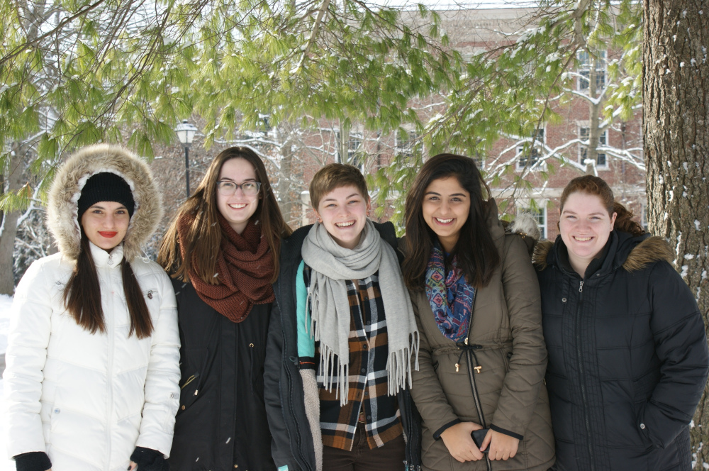 Spring 2016:  (L-R) Seren Keskin, Emily Peterson, Karli Oxford-Jordan, Lara Khalifeh, Emma Compton