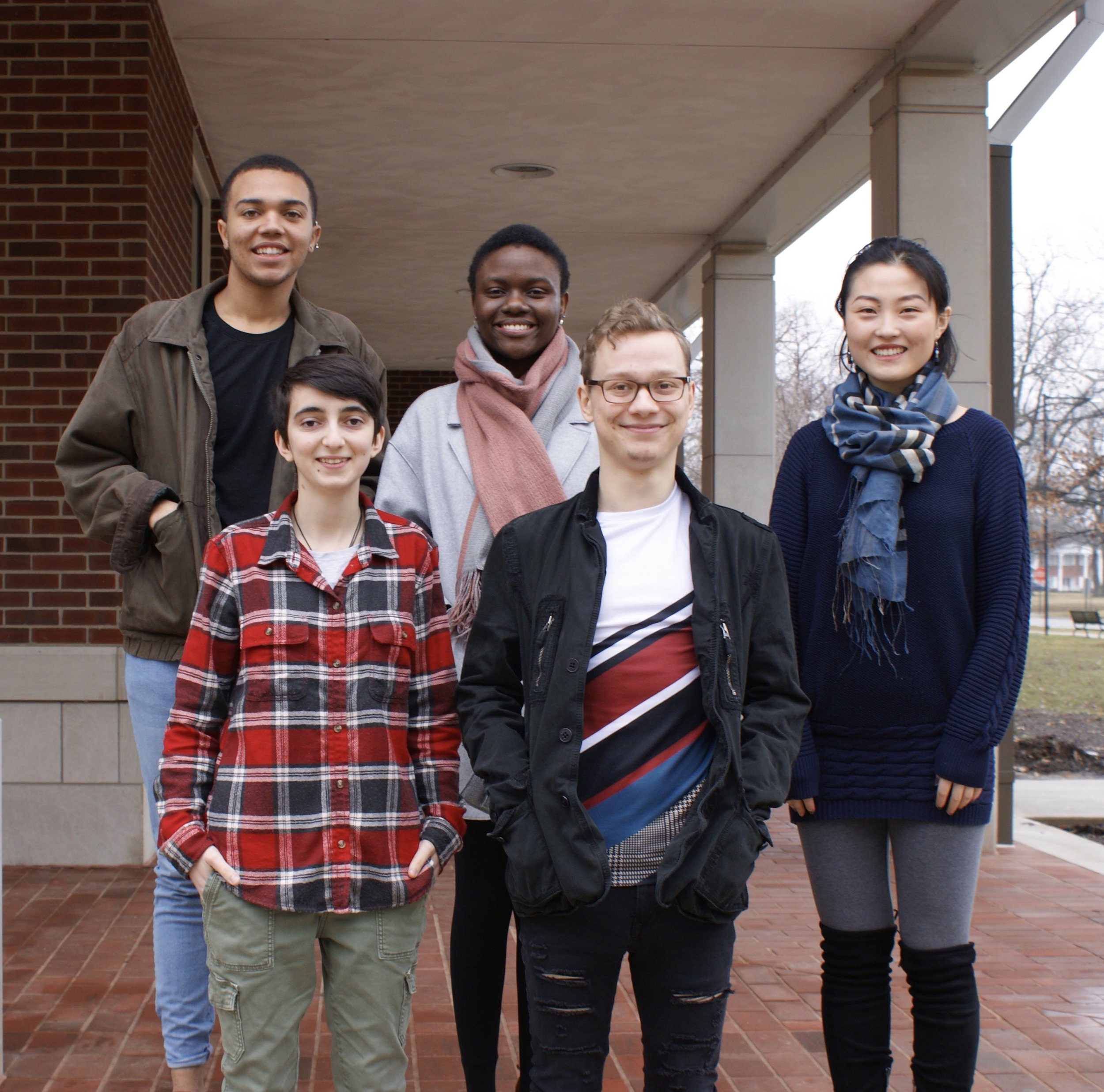 Spring 2019:  (Front row, L-R) Thalia Lhatso-Suppan, Ethan Perkins; (Back row, L-R) Tyrique Richardson, Leticia Maganga (Lab Manager), Xuechen Zhang