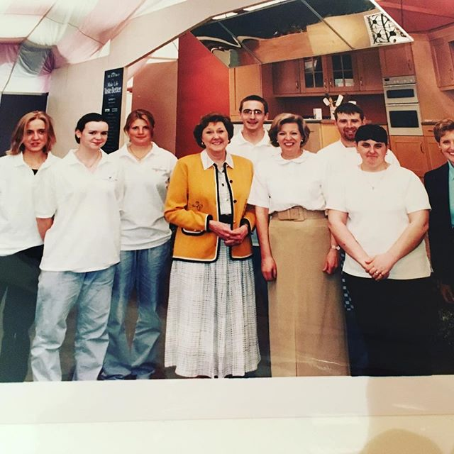 This is where my cookyourselfhappier story began.  1999 at The Royal Highland Show Edinburgh. I'd just completed my Diploma in Food and Wine at the @edinburghschoolfoodwine Can you spot me?! I was incredibly shy and quiet and we were helping Claire Macdonald @kinloch_lodge prep for her Cookery demonstration. I was more than happy to be helping behind the scene.  I used to get incredibly anxious if I thought I'd have to speak in public let alone do a cookery demonstration! I'm very happy to report my confidence and self-esteem  has risen like a soufflé over the last 20 years. Happy Cooking! #edinburghcookeryschool #cookyourselfhappier #flashback #soyoung #1999 #clairemacdonald #cookerydemonstration #edinburgh #royalhighlandshow #ingilston #confidence #selfasteem #shy #quiet #diploma #foodphotography #foodstyling #mentalhealthawareness #mentalhealth #thingswillgetbetter #itsokaynottobeokay @infokgphoto @bankstudio7 #chef #kitchen #scotland #scottishfood #cookyourselfhappy #cookyourselfhappierinedinburgh