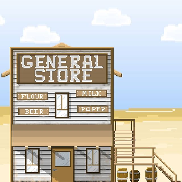 A general store for FlickADrink. This piece is used in the town map where you navigate between menus and mini games!  #pixel #pixelart #ue4 #androidgames #playstore #mobilegame #indiegames #gamedev #flickadrink #instagaming #gamestagram #gameart