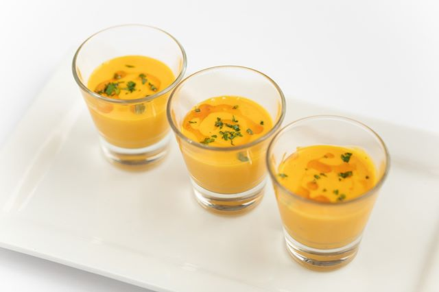 Our Sweet Carrot Soup Shooters are great for Holiday gatherings! Let us help you create the perfect menu for your guests. #holidayparties #tulsaok #catering #jtrcatering #tulsacatering #holidaycatering #fallfoods #tulsafood #eatlocaltulsa #soupshooters #tulsaevents