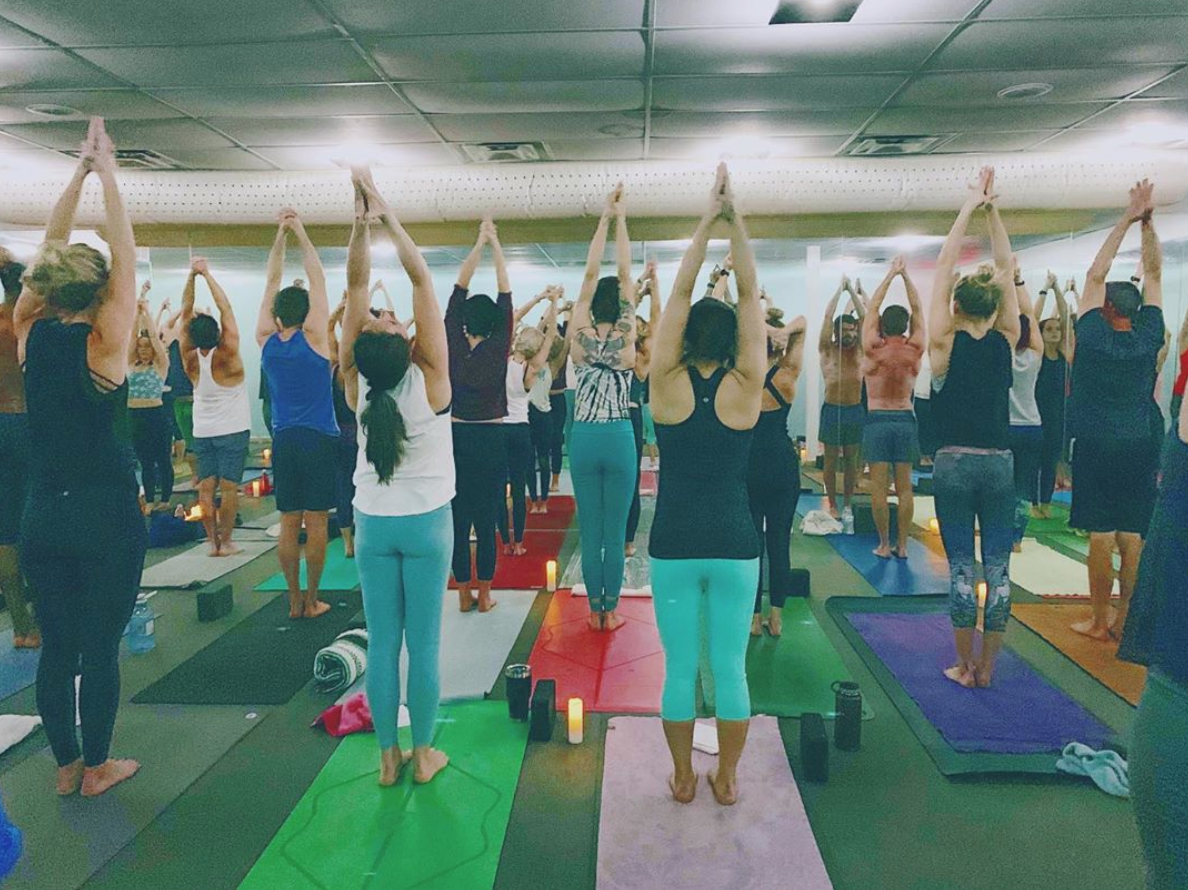 a mat-to-mat class in our hot studio, look at those beautiful bodies!