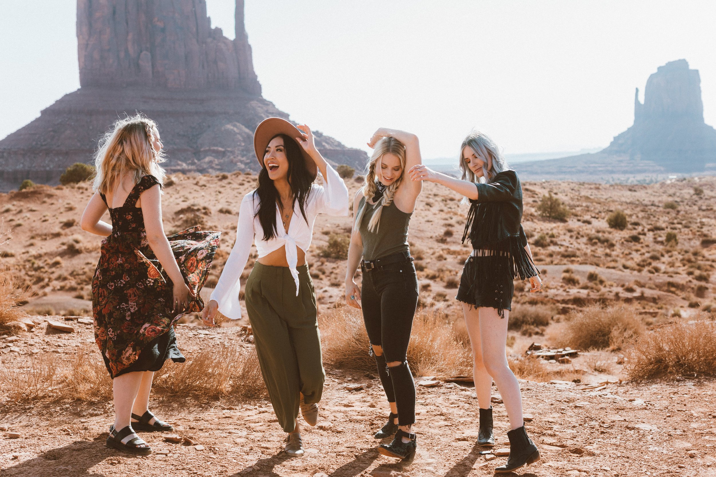 Monument Valley  Photographer: Ashley Jensen  Models: Abigail Hill, Jiajing Yi, Marissa Stagg, Ashley Jensen  Hair, Makeup & Wardrobe: Abigail Hill