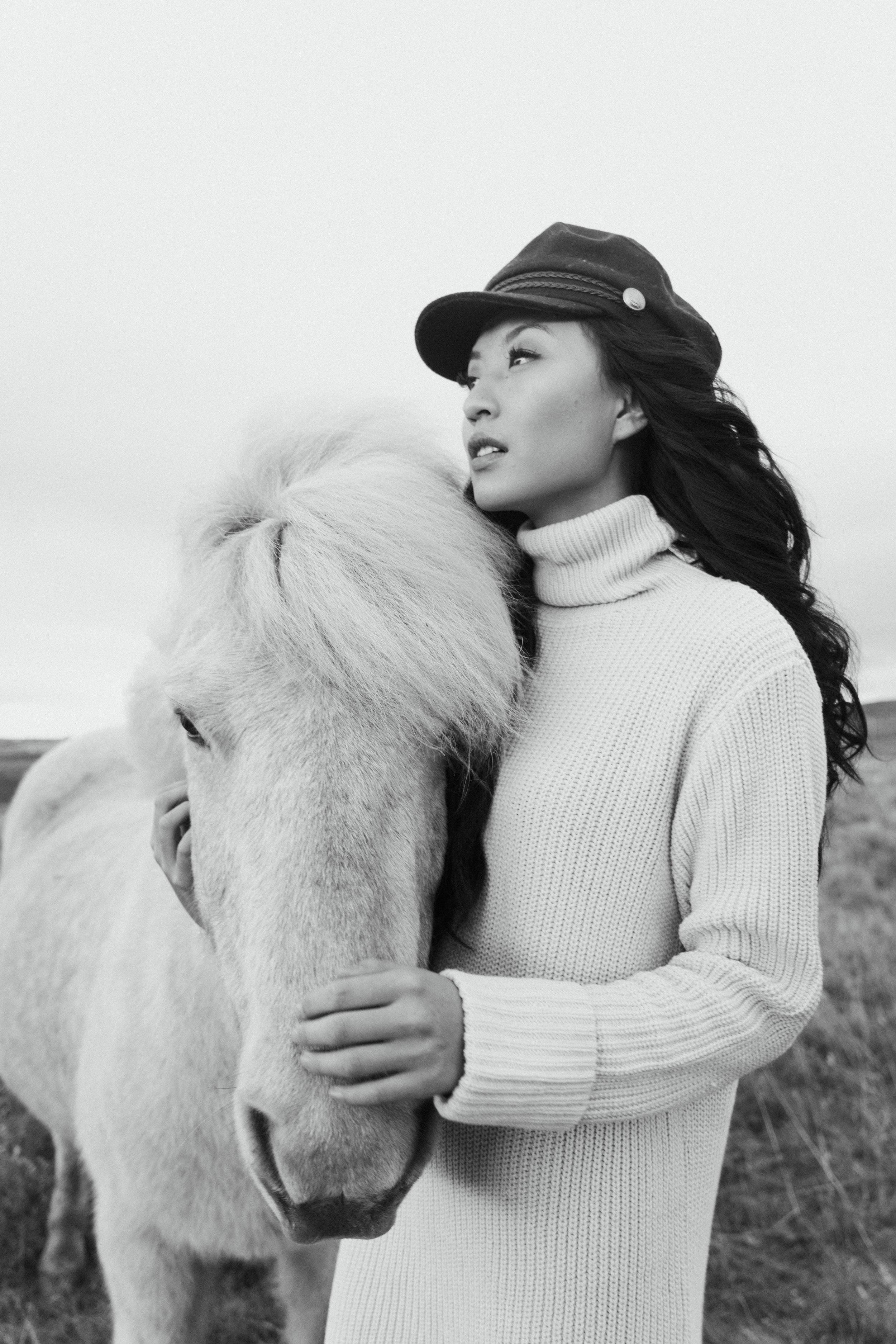 Icelandic Horses  Photographer: Stacie Yue  Model: Jiajing Yi  Hair & Makeup: Abigail Hill