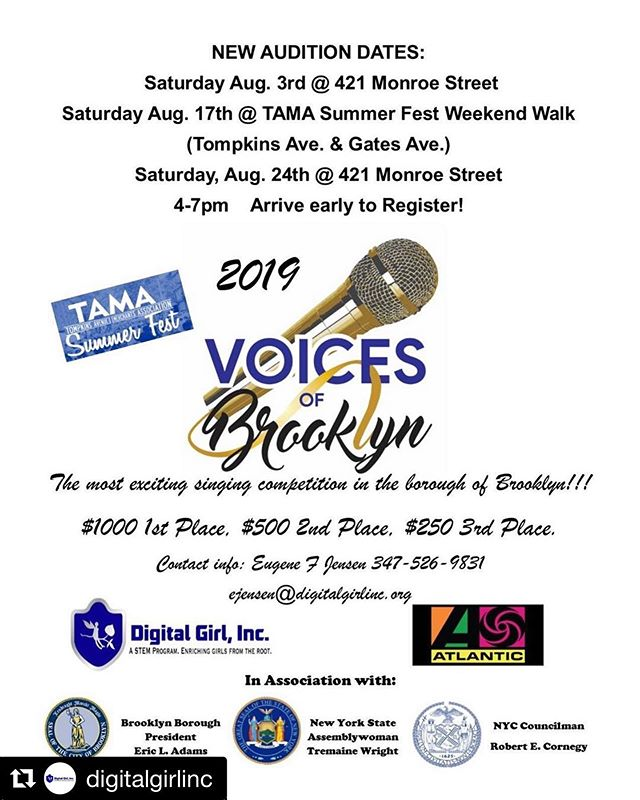 Come out for this amazing singing competition Voices of Brooklyn!!! Audition dates on flyer.  #Repost @digitalgirlinc with @get_repost ・・・ The Voices of Brooklyn Competition is back! Come out and show us what you've got! #voicesofbrooklyn #VOB #DGI #sing #talent  #brooklyn #brooklyncommunity  #like #share #singers