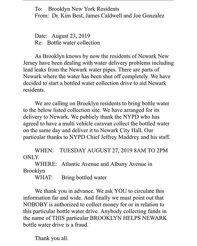 Brooklyn Helps N E W A R K !!! Please help donate bottled water. Information is attached for drop off location date and times!! . . . . . . #helpnewark #donatewater #water #needwater #newark #newarknj #brooklyn #brooklyncommunity #organizations #share #like